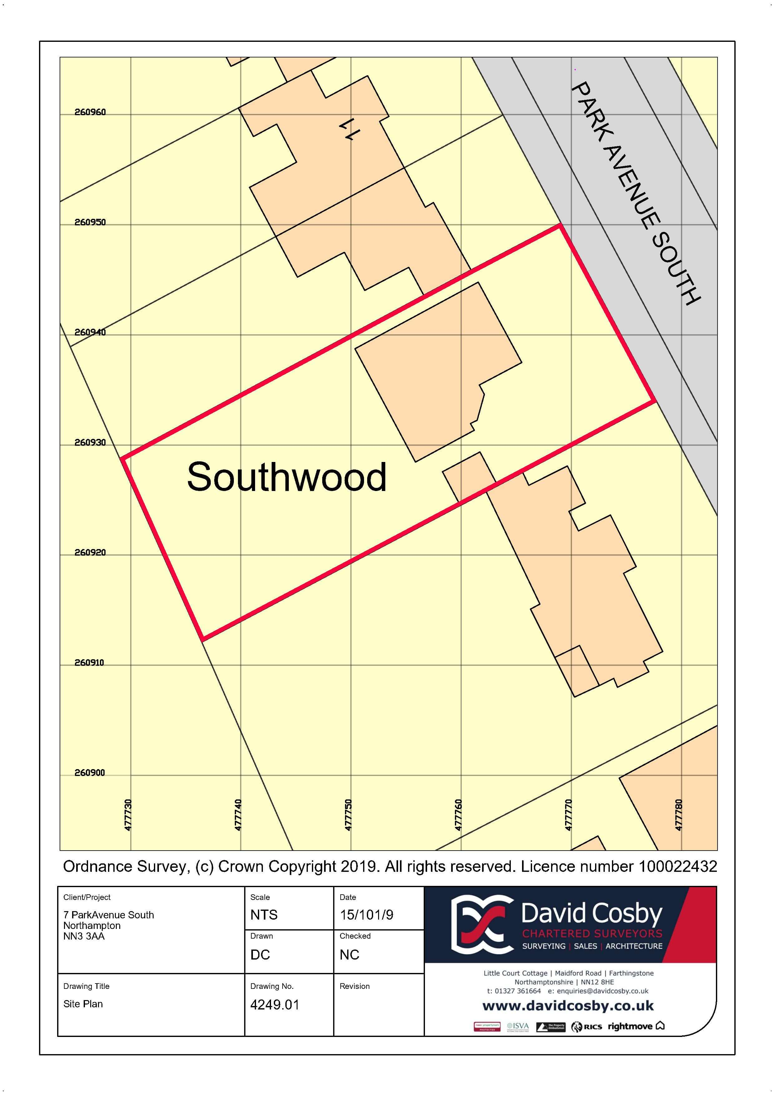 David Cosby Chartered Surveyors & Estate Agents - Southwood Northampton - SITE PLAN IMAGE