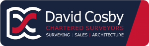David Cosby Chartered Surveyors & Estate Agents - Logo BLUE BACKGROUND LOW RES