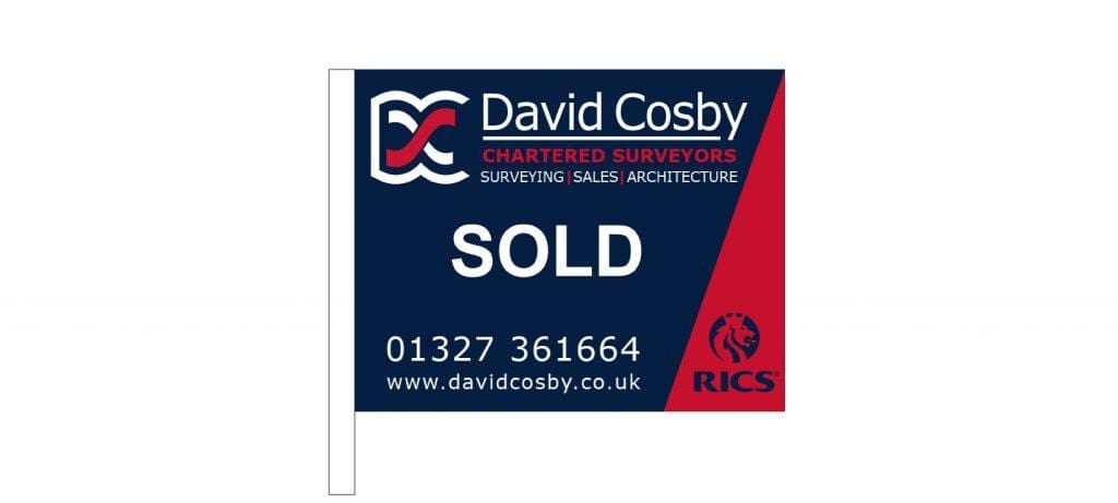 Daventry and Towcester Estate Agents. David Cosby Blue and Red 'SOLD' Sign