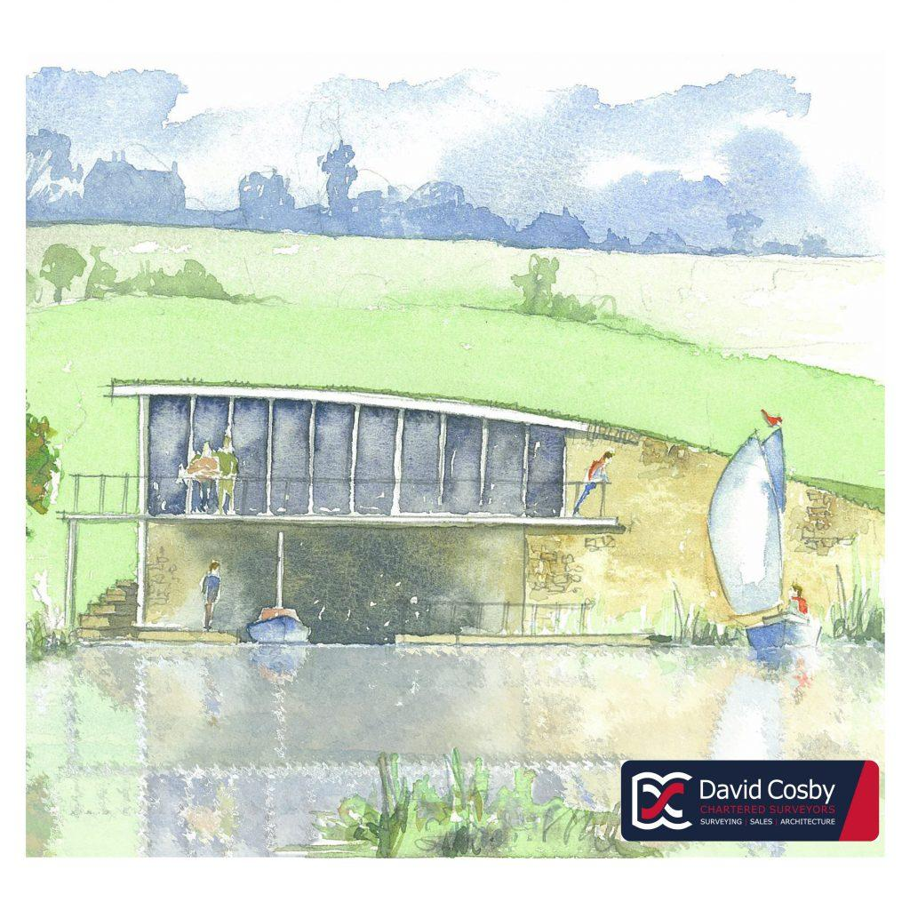 Watercolour Planning Drawings - Boat House front elevation