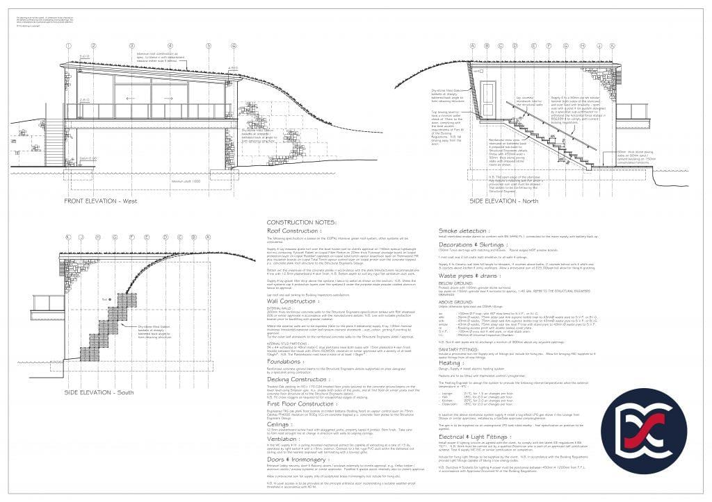 Watercolour Planning Drawings - Boat House Elevations