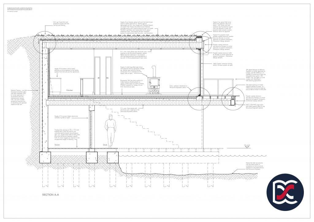 Watercolour Planning Drawings - Boat House Section